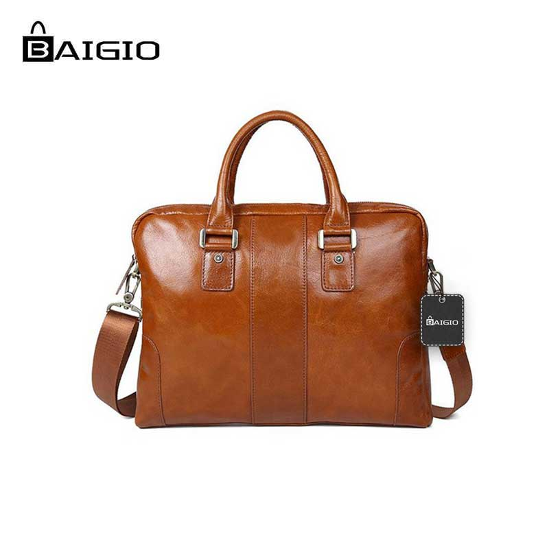 Baigio Men Vintage 14 Laptop Bag Genuine Leather Business Bag Laptop Bag cases Briefcase Shoulder Handbag Men Messenger Bag stainless steel full window trim decoration strips for ford focus 3 sedan 2012 2013 2014 car styling car covers 20