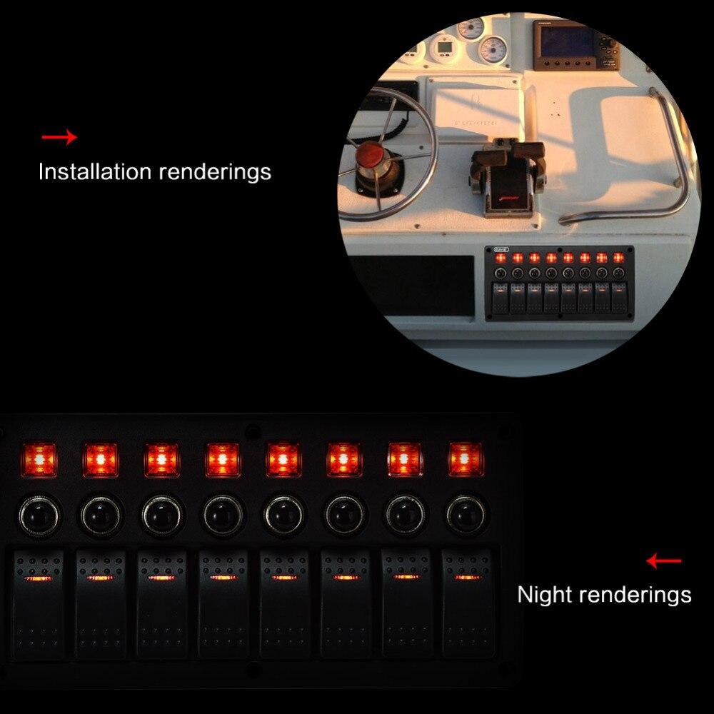 Rupse 8 Gang Wasserdichte LED Rocker Switch Panel 3 PIN ...