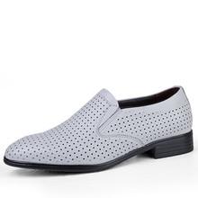 Поскользнуться на большой размер 35-50 формальные кожаные ботинки мужские кожа коровы дышащий туфли бизнес оксфорды обувь человек черный белый