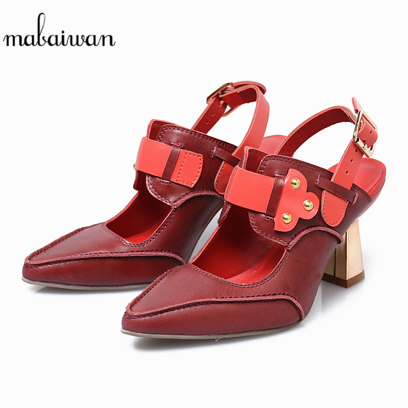 Mabaiwan Casual Women Shoes Back Strap High Heel Sandals Genuine Leather Shoes Woman Pumps Gladiator Feminino Ankle Summer Boots 2017 summer genuine leather botas mujer thigh high gladiator summer boots black color square heel big buckle strap shoes woman