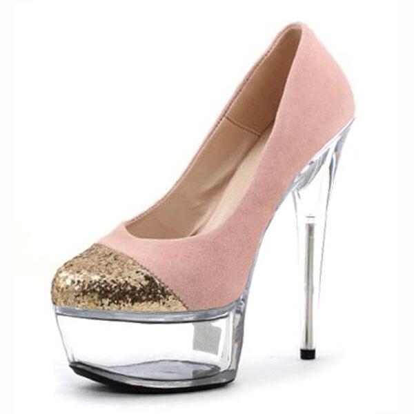 ФОТО Women Sexy Platform Pumps Fashion Peep Toe Flock Shoes Super High Heels Slip-On Sandals Ladies Party Wedding Stage Shoes