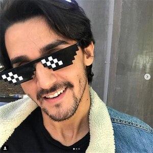 Смешные очки 8 бит MLG неровной солнцезащитные очки Для мужчин Для женщин бренд Thug Life партии очки мозаика Винтаж очки uv400