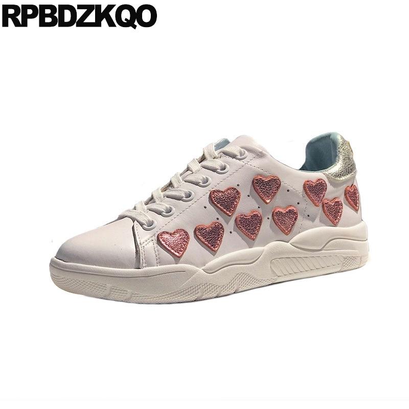De brillo de metal deportivas de lujo lentejuelas Zapatillas Zapatos planos de pestañas corazón de mujer de cuero genuino diseñador de aumento de altura