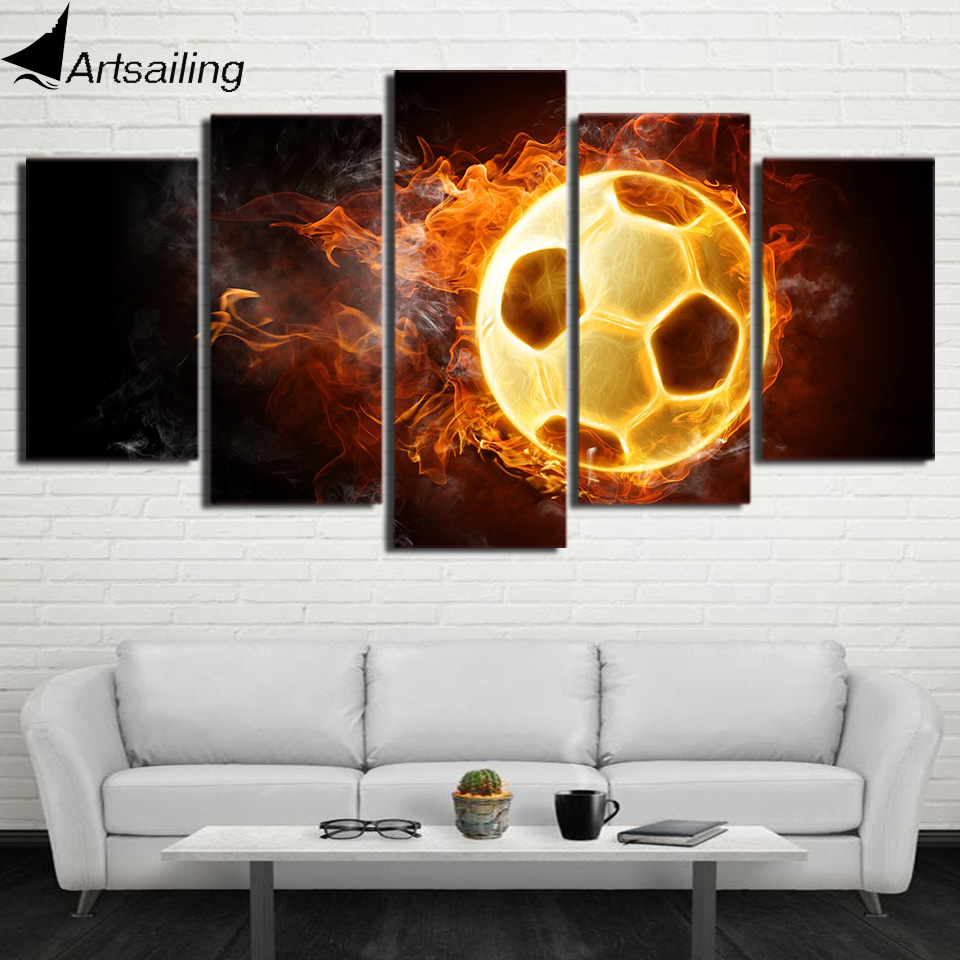 ArtSailing 5 panel sports canvas burning hot Football soccer Painting wall pictures living room posters drop shipping NY-7529C