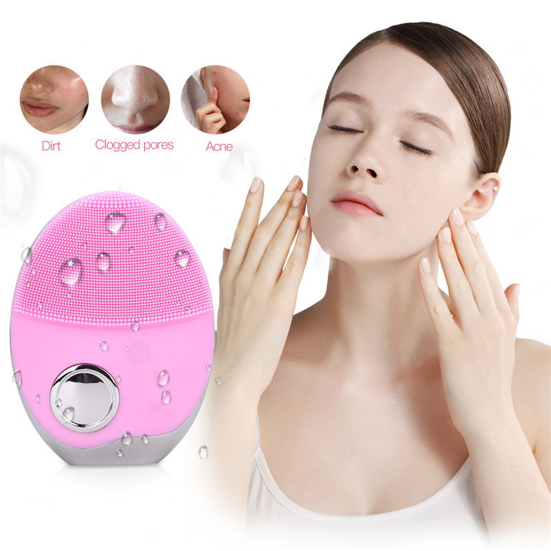Ultrasonic 3 Colors LED Photon Lights Facial Cleansing Brush Waterproof Silicone Wash Pad Face Exfoliating Cleaning Brushes 5253