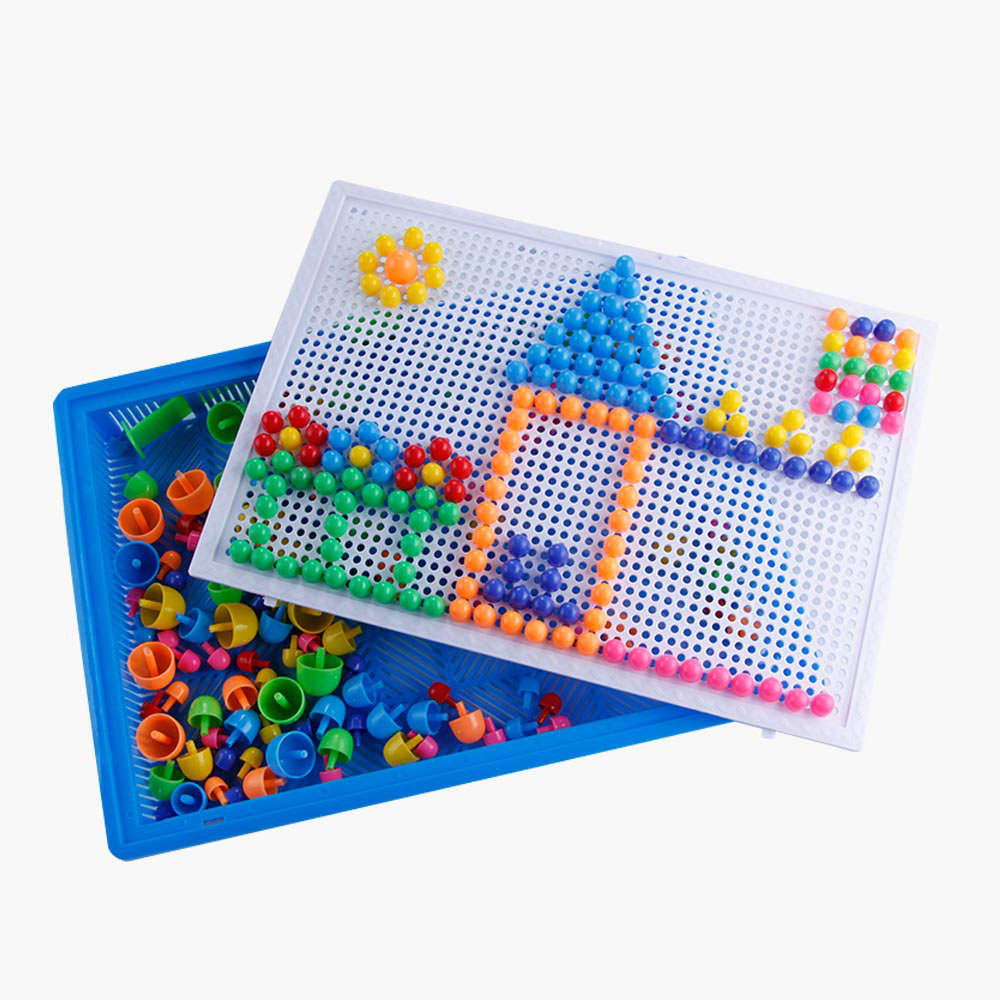 296pc Children Learning Toys Children Mosaic Puzzles Toy Baby Puzzle Mushroom Nail Kit 3D Puzzle Infant DIY Kids Educational Toy