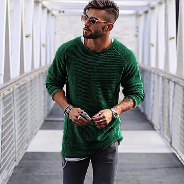 Mens Sweaters 2018 Autumn Winter New Sweater Men O Neck Solid Slim 100%  Cotton Fit