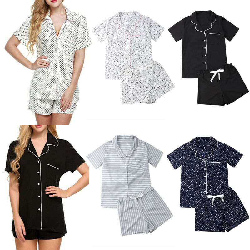 Summer Women's   Pajamas     Set   Short Sleeves Sleepwear Tops+Pants Homewear Nightwear