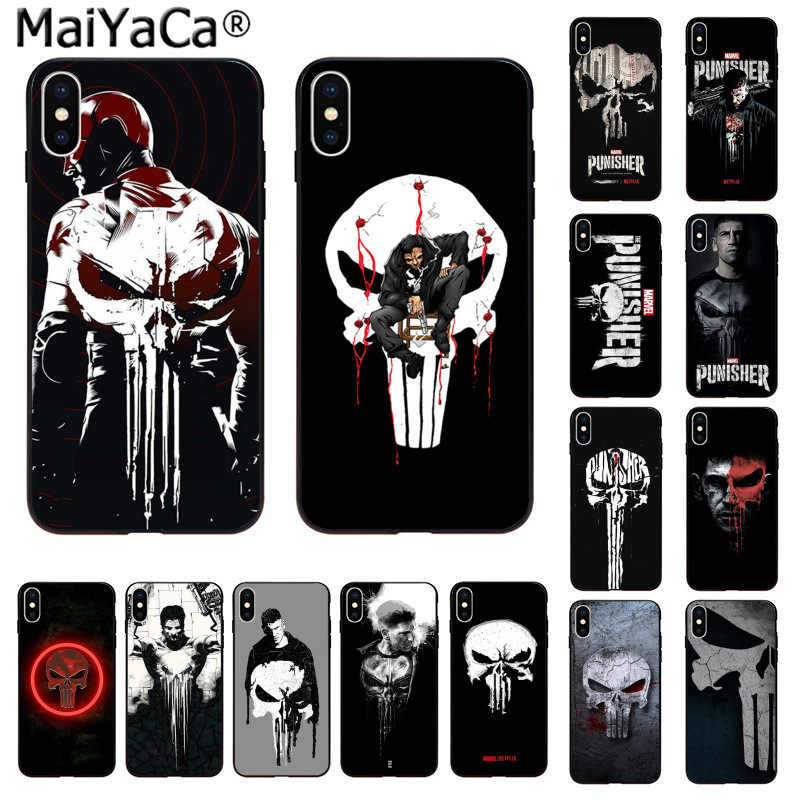 MaiYaCa The Punisher Frank Castle Silicone TPU Tampa Do Telefone para Apple iphone 11 pro 8 7 66S Plus X XS MAX 5S SE XR Celulares