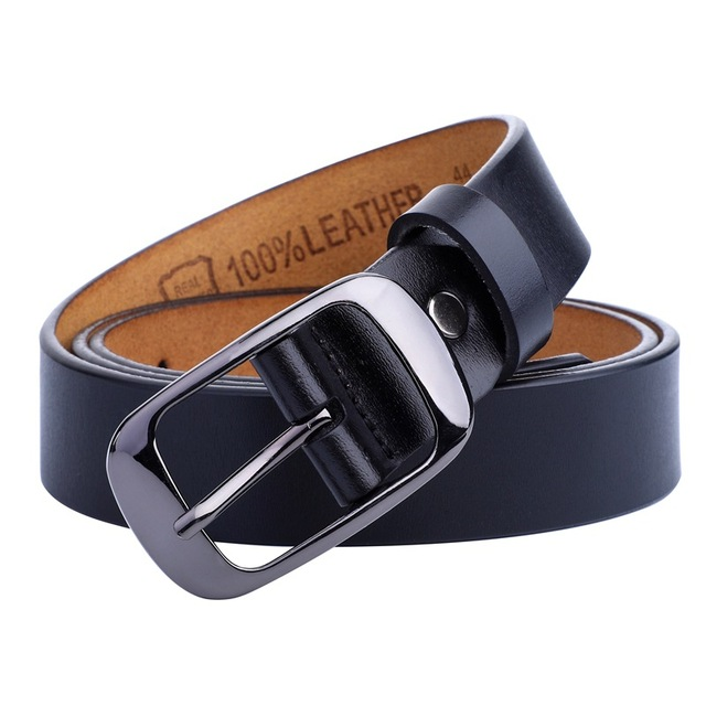 F&U Cow Genuine Leather Belt Luxury Strap Dress And Jeans Belts For Women Fashion Vintage Shining Black Buckle 4 Colors Choice