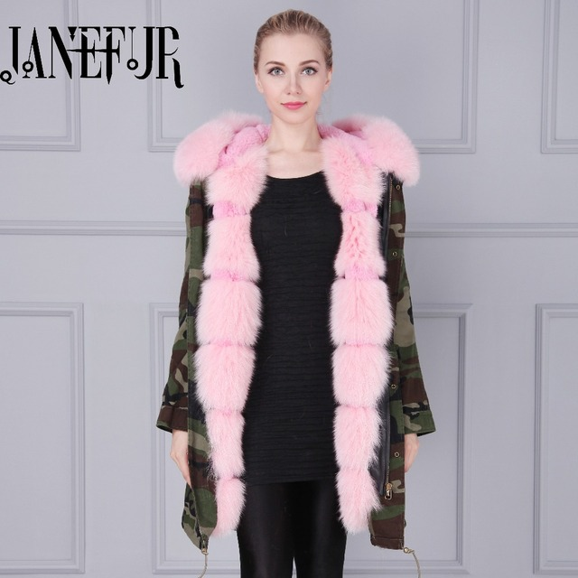 d82fae5c3ac4 Brand American Military Camouflage Army Parka Long Women Military Cotton  Coat with Thick Real Saga Fox Fur Hooded Wadded Jacket