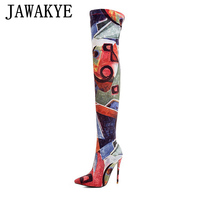 JAWAKYE Graffiti multicolor elastic Sock long boots women Pointy Sexy Ladies high heels Shoes Slim Thigh high boots for women