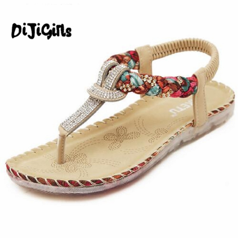 цены  Boho Bohemian National Rhinestone Crystal Diamond Flat Shoes Women Sandals Summer Ethnic Beach Casual Shoes Plus Size