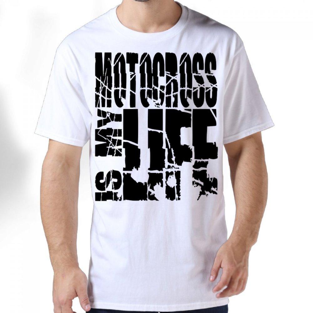 Design t shirt motocross - High Quality Men S Creative O Neck Short Sleeved Motocross Is My Life Design Gildan Premium Cotton Adult Standard Weight T Shirt