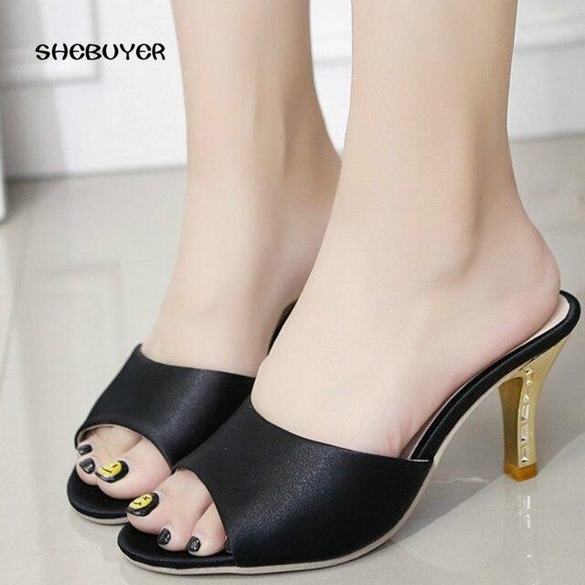 2016 femminile summerl donne sandali tacco sottile elegante Del Partito di  estate donna sandali tacco alto ce1e1e863ee