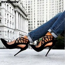 TINGHON Hot Sexy Fashion Woman Pointed Toe Cut-outs Stilettos High Heels Sandals Shoes Zipper Rome Scarpe Zapatos Mujer hot popular women ultra high heels leopard print pointed toe stilettos slip on zapatos mujer fashion women party shoes eu34 41