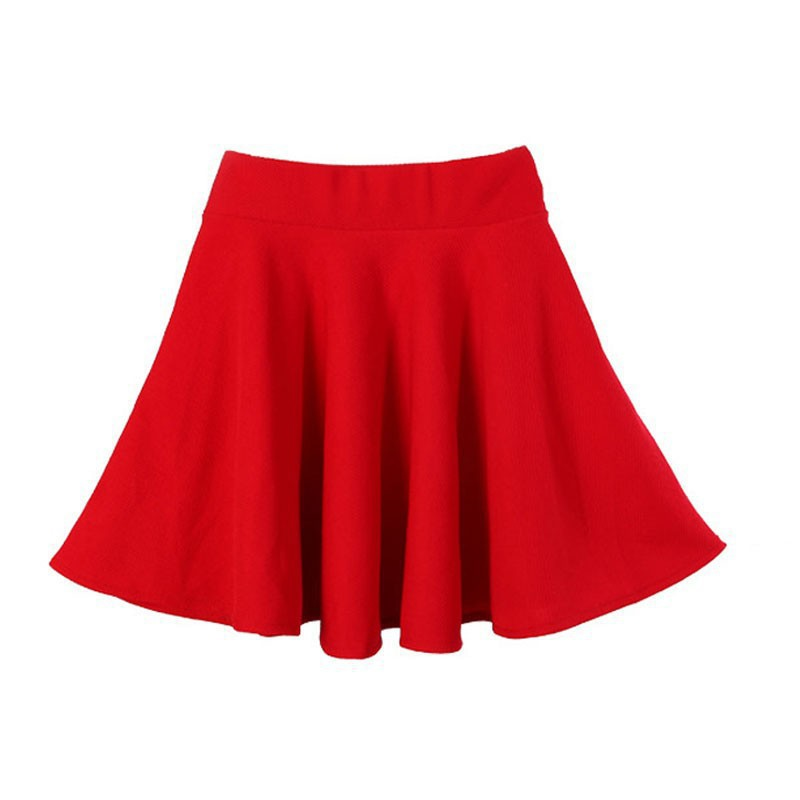 Women Candy Color Casual A-line Flared Mini Circle Short Pleated Women Skirt H7