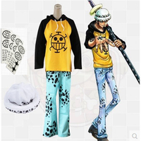 Anime One piece Trafalgar Law Cosplay custome, Trafalgar Law kostüme (kleidung + hosen + hut + tattoo) halloween karneval kostüm