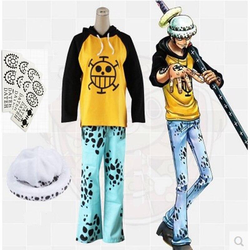Anime une pièce Trafalgar droit Cosplay custome, Trafalgar loi costumes (vêtements + pantalon + chapeau + tatouage) halloween carnaval costume