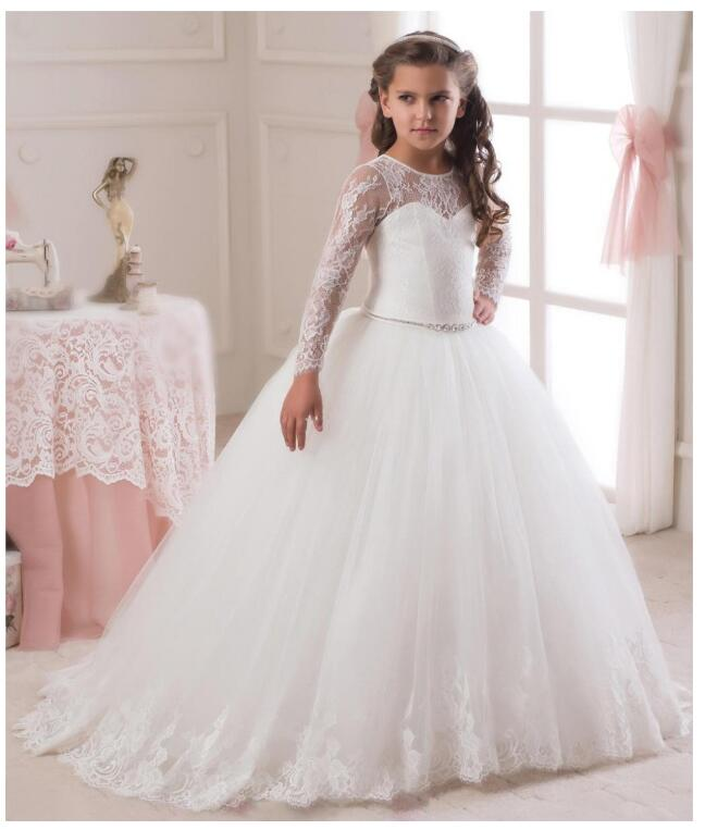 Girls Wedding Formal Dresses 2018 Tailing Catwalk Lace Gauze Prom Ball Gown Flowers Girls Princess Dresses Kids Long Party Dress girls wedding formal dresses 2018 lace tailing catwalk gauze prom ball gown flowers girls princess dress kids long party dress
