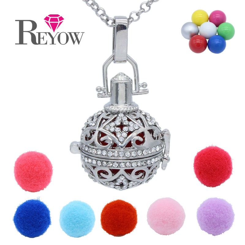 Chime Ball Jingle Bell Pendant Full Crystal Hollow Floating Locket Aromatherapy Essential Oil Fragrance Diffuser Chain Necklace