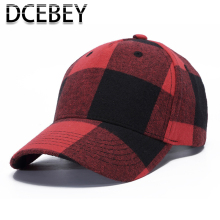Red Plaid Baseball Caps 2019 Women Men Summer Dad Cap Snapback Ponytail Hat Hip hop Gorras Hombre