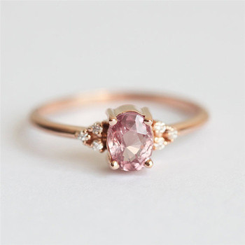 ROMAD Pink CZ Engagement Rings for Women Rose Gold Wedding Ring Dainty Valantine's Gift for Girl Friends Romantic Jewelry R4 3