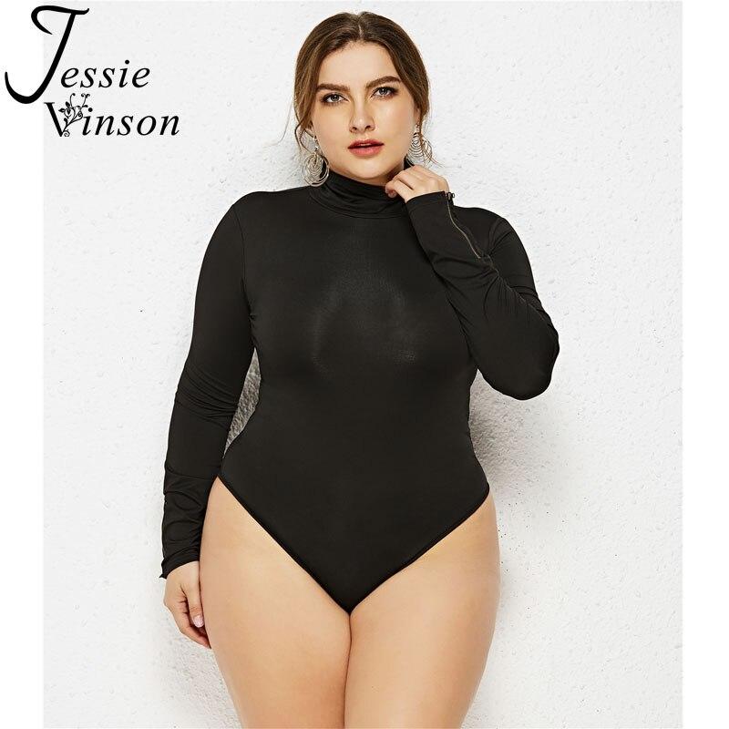 Jessie Vinson Plus Size Long Sleeve Turtleneck Solid Skinny Bodysuit Women Black White Bandage Bodysuit Jumpsuit 5XL 6X Rompers