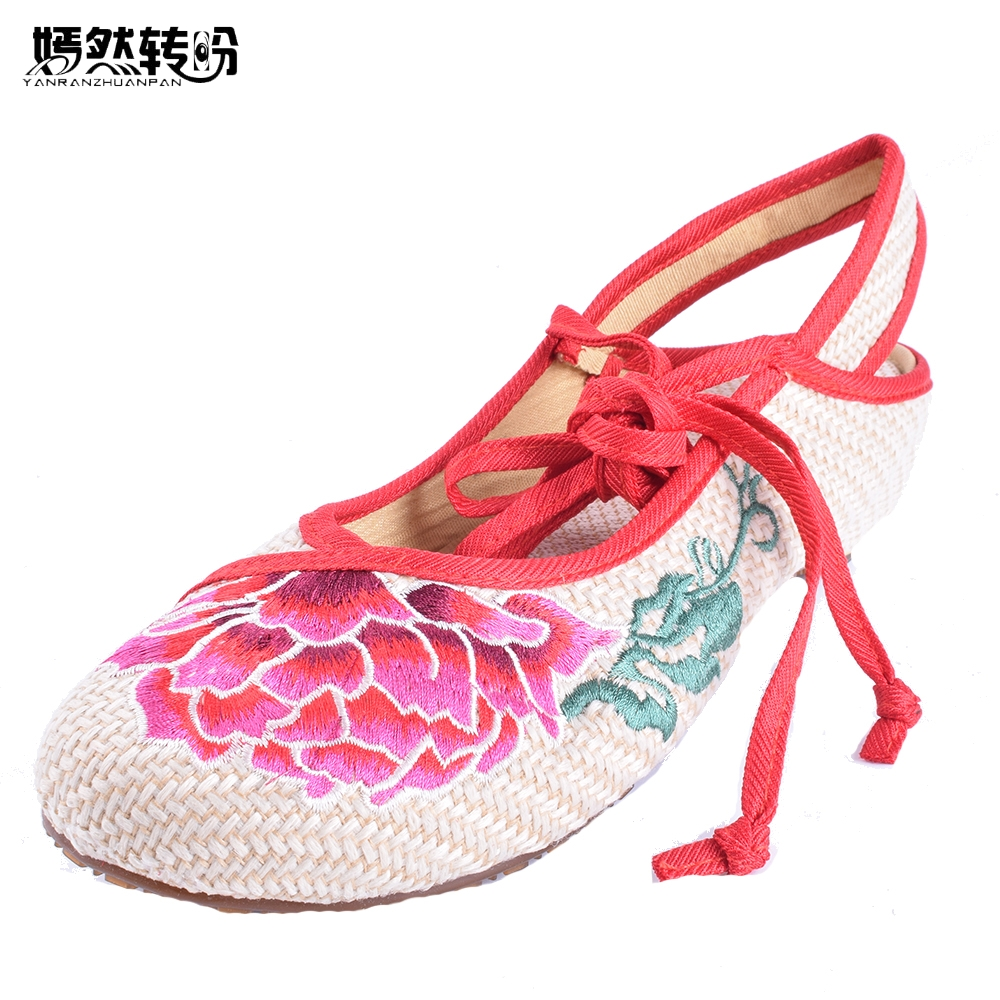 Embroidered Linen Shoes Women Casual Ethnic Retro Style Flower Embroidery Soft Sole Flat Sandals Old Peking National Cloth Shoes vintage embroidery shoes canvas old peking cloth flats chinese national style soft sole casual shoes women dance single shoes