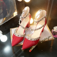 Summer new women's high heels Korean fashion rivet pointed patent leather high heels comfortable wild large size single shoes Pumps