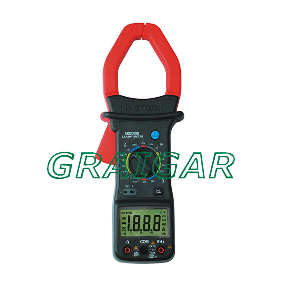 MASTECH MS2000G Digital Clamp Meter Current AC DC Voltage Resistance Temperature Tester