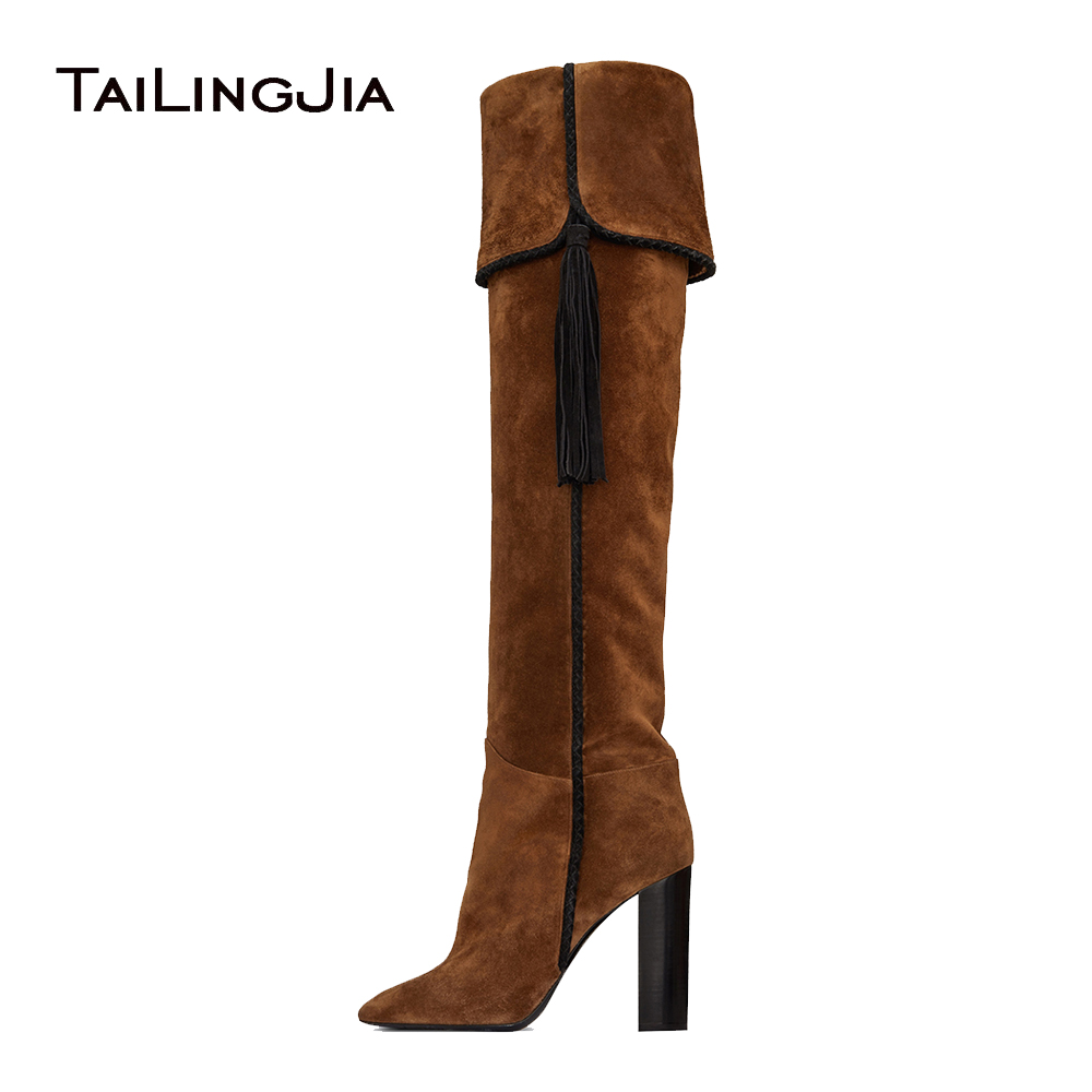 Brown Suede Pointy Toe High Heel Tassel Fold Slouch Boots Chunky Heel Slip on Fringe Knee High Boots Ladies Winter Shoes 2018 high quality suede boots women ankle strap chunky heel black brown fleeces buckles pu shoes winter high heel knee high punk shoe