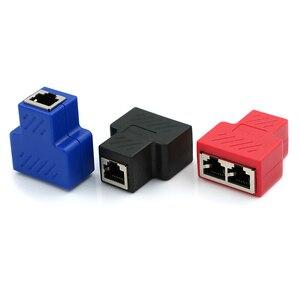 Image 3 - Adaptador divisor RJ45, 1 a 2, enchufe Ethernet Dual, conexiones de Red, adaptador divisor para placa PCB, soldadura, Azul, Negro, Rojo