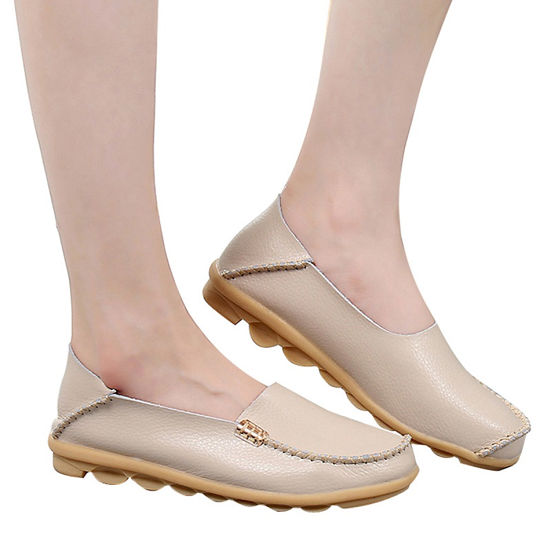 Women Flats Slip On Loafers Women Genuine Leather Shoes Female Nurse Flat Shoes Woman Moccasins Casual Zapatos Mujer Plus Size spring summer flock women flats shoes female round toe casual shoes lady slip on loafers shoes plus size 40 41 42 43 gh8