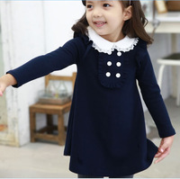 2016 Baby Girl Autumn Winter Doll Collar Princess Dress Children Clothes Long Sleeved Girls A Line