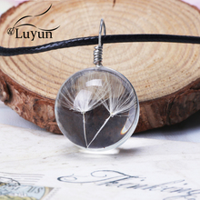 Luyun Dandelion Crystal Glass Long Necklace Natural Seed Fashion Jewelry Gift