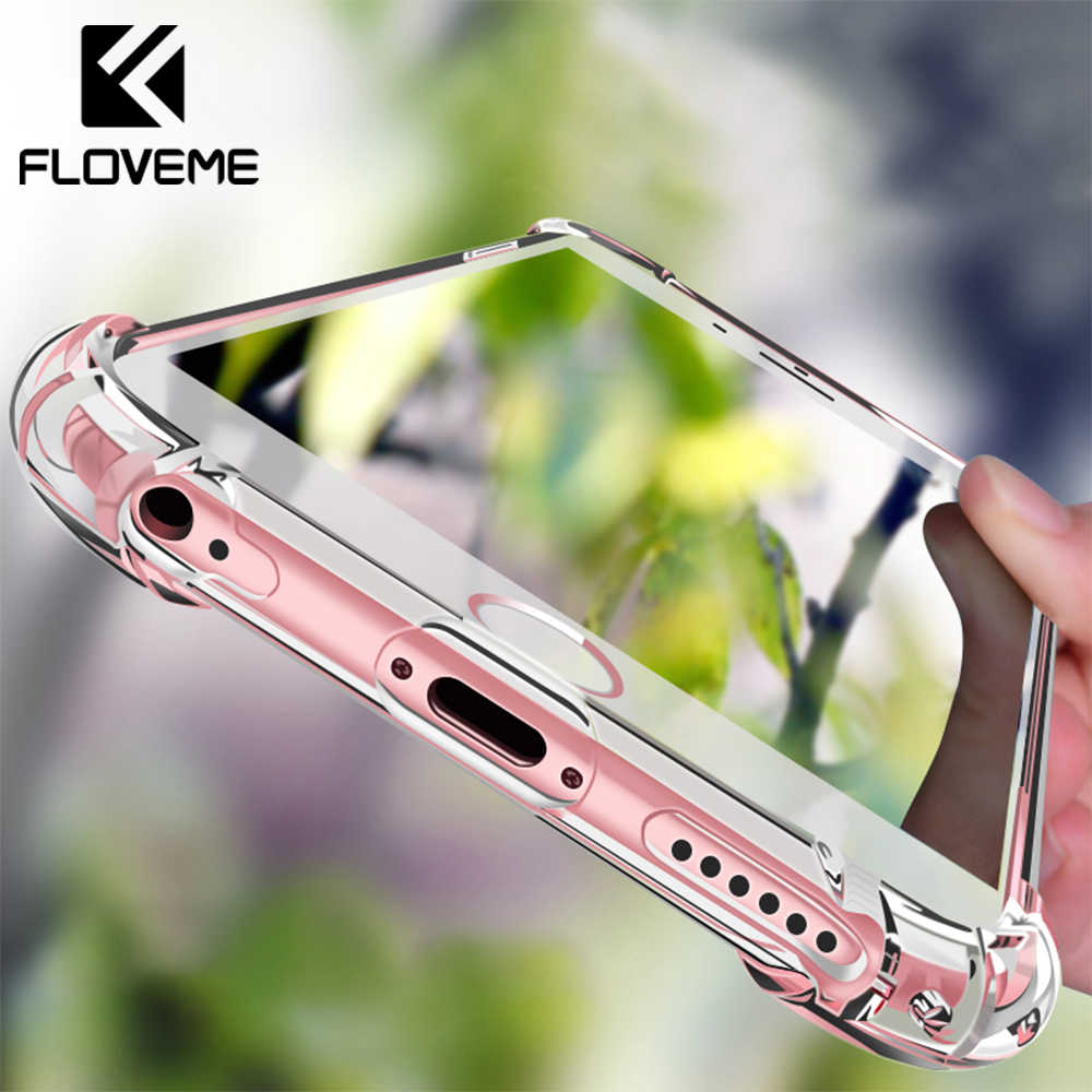 FLOVEME Original Anti-golpe funda para el iPhone x 10 7 a prueba de golpes transparente silicona Ultra fino funda para el iPhone 7 8 Plus funda bolsa