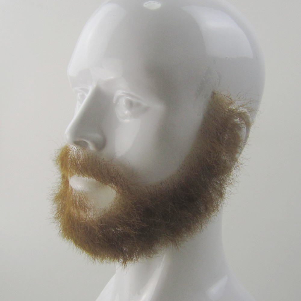 100% Human Hair Top Quality Fake Light Brown Beards And Mustaches. Realistic Costume Blonde Beards In Glue On Styles