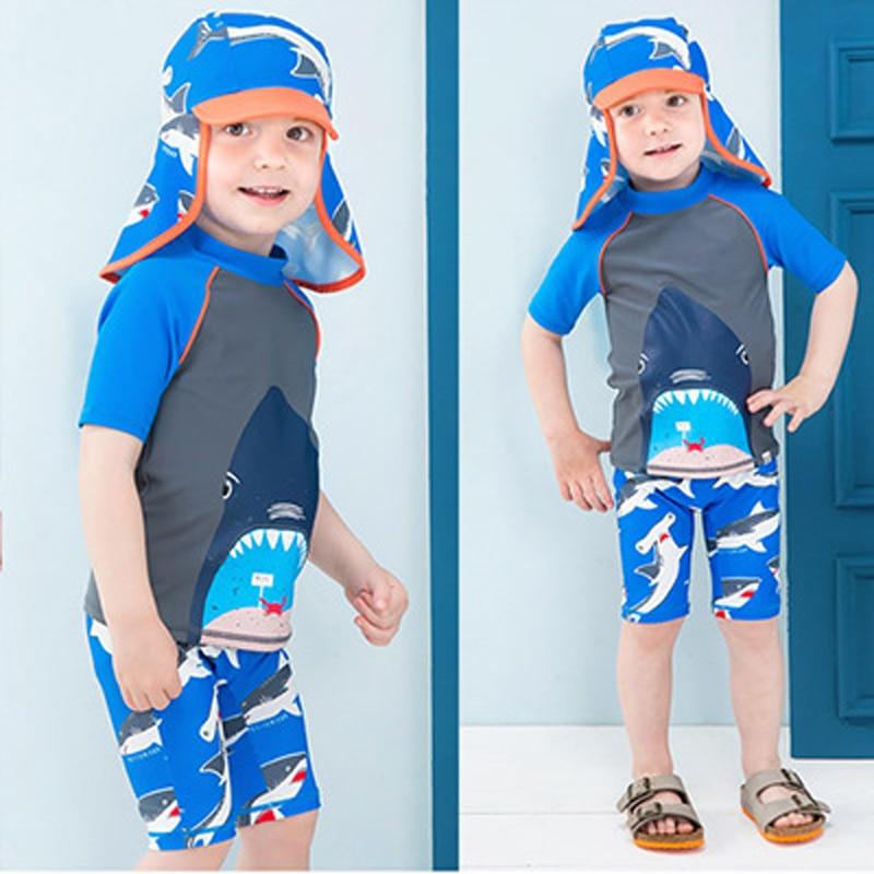 Swimsuit Baby Boy Bikini Kids Children's Swimwear Kid's Swimsuits Bathing Suits Rash Guard Children Long Sleeve Cap Animal 2019