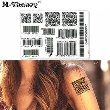 M-Theory Barcode Temporary Tatoos Makeup Body Arts Flash Tattoos Stickers 17x10cm Sexy Tatto Swimsuit Bikini Dress Makeup Tools