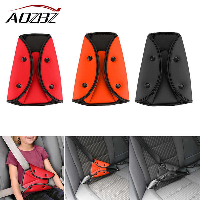 AOZBZ 소프트 안전 맞는 두꺼운 자동차 좌석 벨트 고정 장치 조절기 보호대 커버 스트랩 어린이 키즈 삼각형 편안한