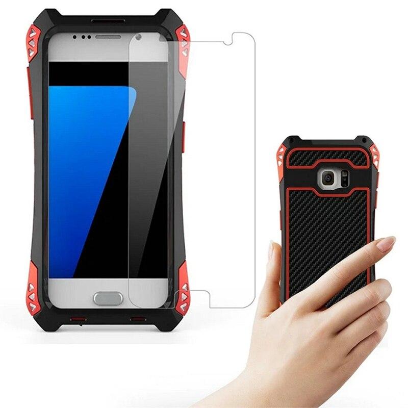 imágenes para Original R-sólo Más Reciente AMIRA Caso para Samsung S7/S7 Borde a prueba de Choques Impermeable De Fibra De Carbono + Metal + gorila De Vidrio Anti-impacto