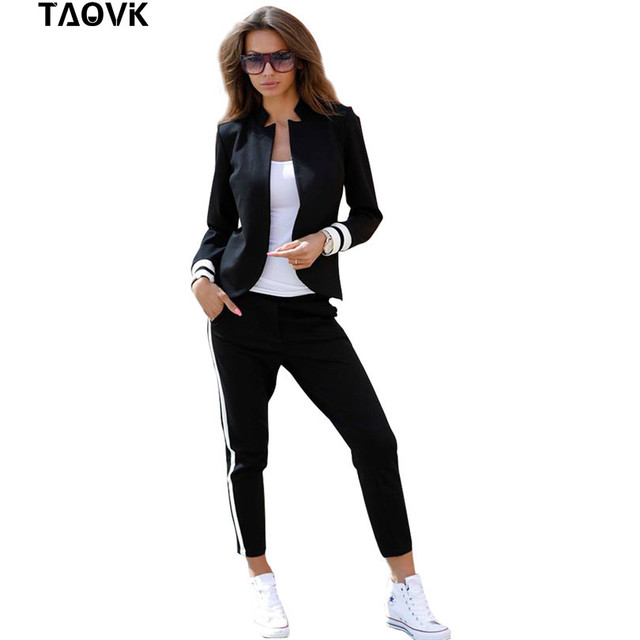 TAOVK women 2 two Piece Set suits Long sleeve stand-up collar buttonless Black and white tracksuit
