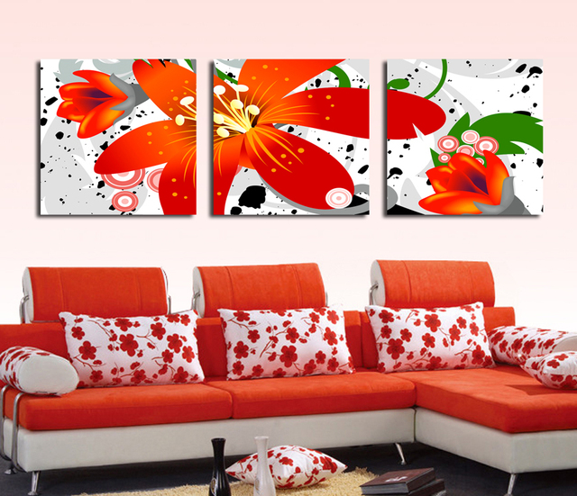 Modern red flowers painting wall decor landscape paintings on canvas wall art for living room bedroom