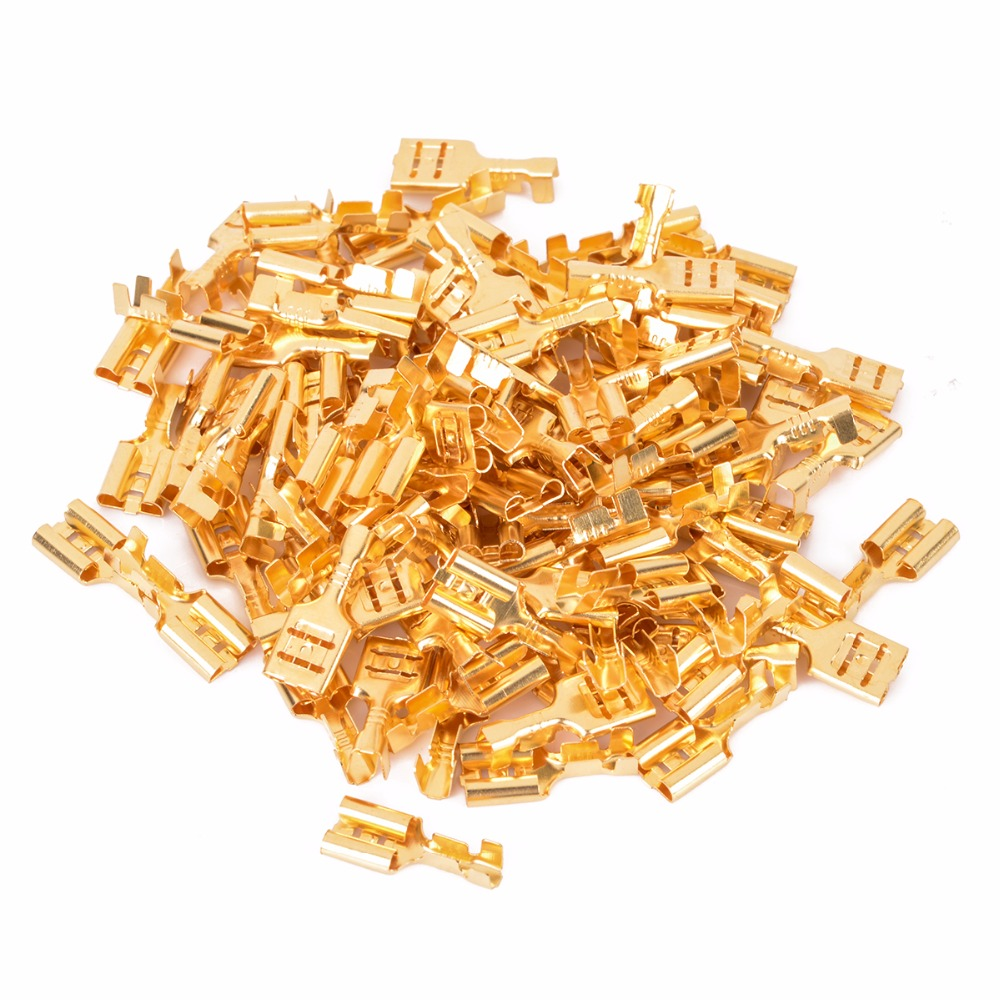 100pcs 6.3mm Female Crimp Terminal Connector Gold Brass Car Speaker Electric Wire Connectors Set areyourshop hot sale 50 pcs musical audio speaker cable wire 4mm gold plated banana plug connector