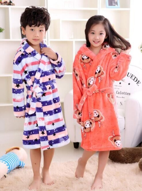 Dropwow 2018 New Fashion Children Bathrobes Boys Girls Robe Children  Bathrobes Carol Fleece Winter Robes Suit 6-12years eaa8ee84f