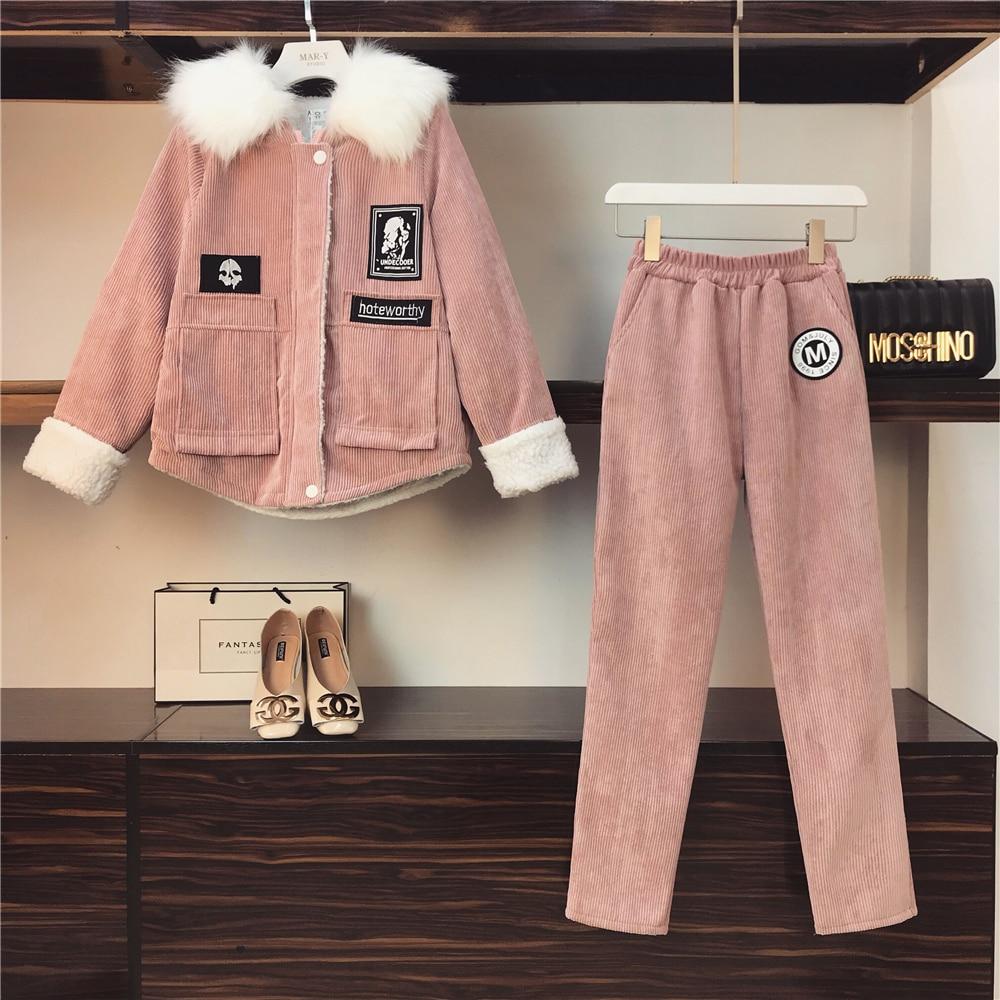 Hiver Survêtement Pantalon De rose Costume Plus Velours Veste Épais Manteau Pièces Étudiant Long Chaud Gris Ensemble Deux Femmes Nouveau Xk08OPnw
