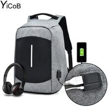 Yicob мужчины женщины многофункциональный Бизнес рюкзак зарядка через USB Порты и разъёмы штекер наушников Водонепроницаемый Анти-Вор большой путешествия ноутбук Сумки