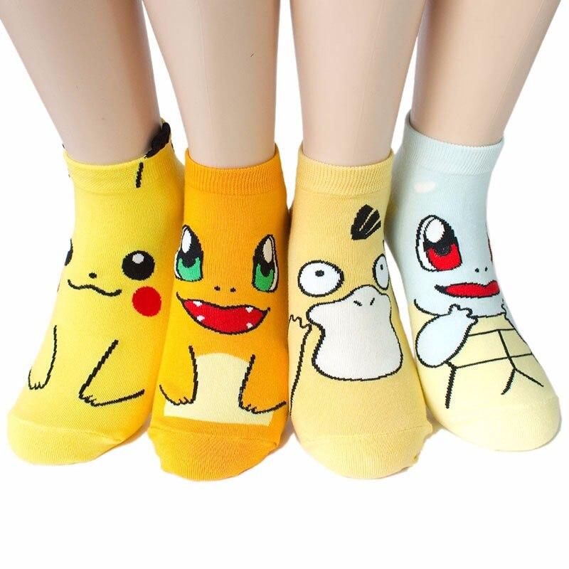 4 pairs/lot New Arrival Pokemon GO 3D Printed Sox Pikachu Harajuku Cartoon Women's Socks Novelty Low Cut Ankle Cute Meias Sokken
