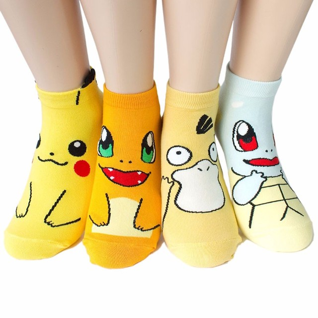 4 pairs/lot New Arrival Pokemon GO 3D Printed Sox Pikachu Harajuku Cartoon Women's Socks Novelty Low Cut Ankle Cute Meias Sokken